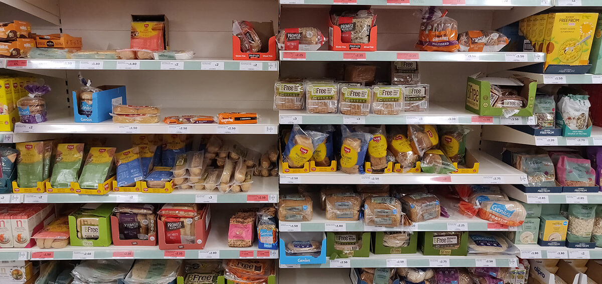 Gluten free supermarket aisle